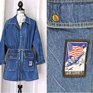 80s denim jacket / size L / XL /  denim duster coat /  vintage Airline jacket / oversized jean jacket