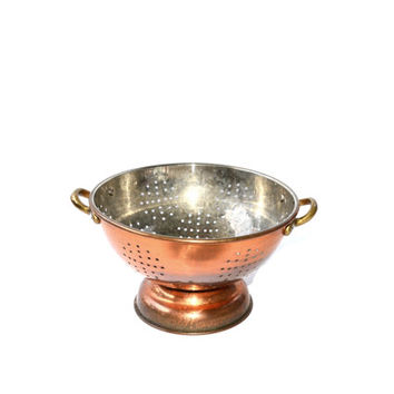 Copper Colander Copper Strainer Brass Handles Sieve Drainer Tin Lined French Country Cookware Vintage Strainer Copper Home Decor