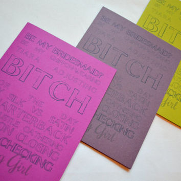 Will you be my Bridesmaid Card Funny Bridesmaid Card Bridesmaid invite Bridesmaid Proposal Card  my Maid of Honor Bitch for a day funny card