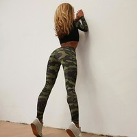Women Stretch Gym Tracksuit Fitness Tights Yoga Set Workout Clothing Leggings Shirt Top Camouflage Female Sports Suit