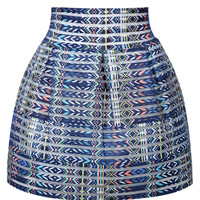 Blue Geometric Pattern Stripe Mini Skirt
