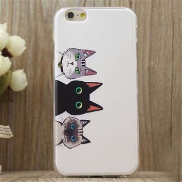Three Cats Print iPhone 5/5S/6/6S/6 Plus/6S Plus Case Gift Very Light Case-26-170928