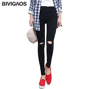Women's Knee Ripped Hole Pencil Pants Slim Skinny Thin Stretch Woven Leggings Trousers Women