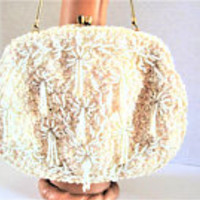 White Wedding Purse, Hand Beaded, Hong Kong, Evening Bag, Sequin Bead Encrusted, Wedding Purse