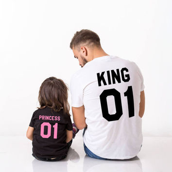 King Princess 01, father daughter matching shirts, King 01 Princess 01,  father daughter matching T-shirts, 100% cotton Tee, UNISEX