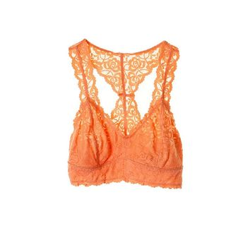 Lace Racerback Bralette, Neon Orange