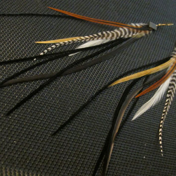 Grizzly Feather Earrings by KOZ, in black, white, ginger, cream, burnt orange furnace stripes, b&w grizzly, medium long