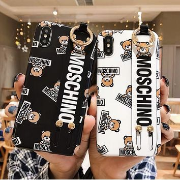 Moschino Fashion New More Letter Bear Print Phone Case Protective Cover