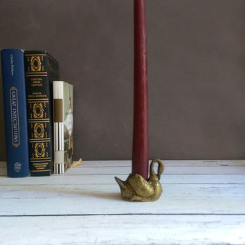 Tiny Brass Swan/ Small Brass Swan/ Swan Candlestick Holder/ Swan Trinket Dish/ Small Brass Figure/ Brass Bird