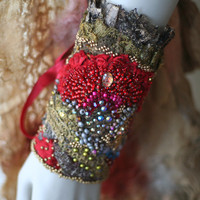 1600--  romantic bold wrist wrap gauntlet from vintage and antique laces, hand beading,shabby chic