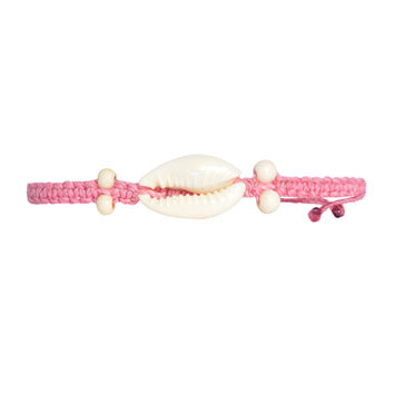 Cowrie Shell Bracelet Coral Pink