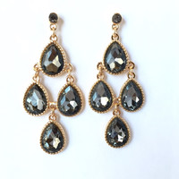 Grey Chandelier Crystal Earrings
