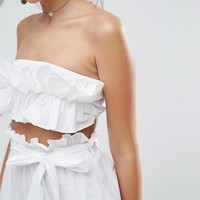 ASOS Beach Co-ord Bandeau Top With Ruched Frill Detail at asos.com