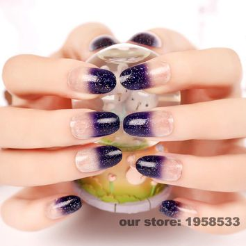 24pcs Bling Silver Glitter Dust Clear Purple False Nails Round Head Artificial Tips Fake Nail Z115