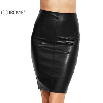 PU Leather Bodycon Women Skirts Female Sexy Clothing Autumn Winter Punk High Street Stylish Black Midi Skirt