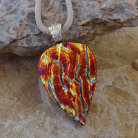 Pink and Copper Teardrop Glass Necklace, Dichroic Glass Pendant, Fused Glass Pendant, Glass Statement Pendant  - Textured Rainbows