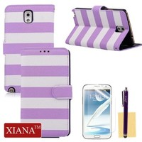 Galaxy Note 3 Case, XIANA Colorful Stripes Design PU Leather Purse Wallet Stand Case Folio Cover with Credit Card Slots,Stylus,Screen Protector and Cleaning Cloth Suitable For Samsung Galaxy Note 3 N9000(Purple)