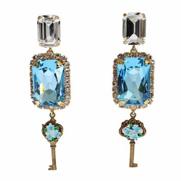 Dolce & Gabbana Gold Blue Clear Crystal Key Flower Dangling Clip On Earring
