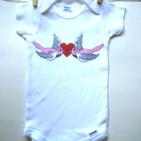 Love birds Baby Onesuit for baby girls size 0-3 months, 6 months, 12 months, 18 months