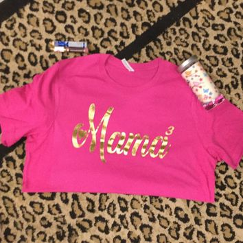 Gold Foil on Berry Crew Neck Mama heart t-shirt