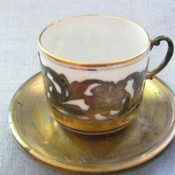 Richard Ginori Italian Porcelain Brass Cup Saucer Marked Numbered