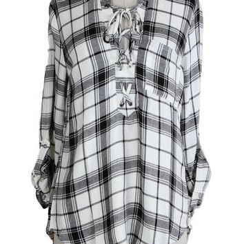 MASON LACE UP PLAID BLOUSE - BLACK + WHITE