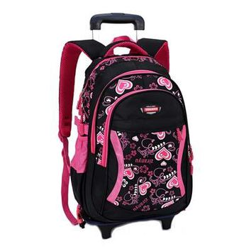 School Backpack ZIRANYU Double-wheel Trolley Backpack For Children Fashion Heart-shaped Pattern School Bag Detachable Backpack For Girls AT_48_3