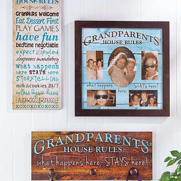 Grandparents Wall Hanging Signs Rules Collage Plaque with Hooks Wood