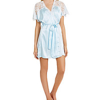 In Bloom by Jonquil Bridal Satin and Lace Wrap Robe - Blue/White