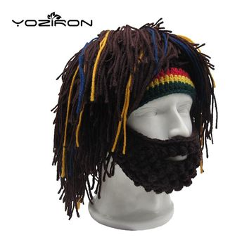 Handmade Beard Wig Rasta Winter Beanie Hat Crocheted Mustache Adult Warm Knitted Caps Men Women Halloween Gifts Ski Mask