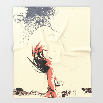 In the move - sexy nude girl, woman in bikini, abstract spiritual sketch, eagle spirit Throw Blanket by Casemiro Arts - Peter Reiss