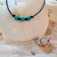 Triple Turquoise Pearl Necklace