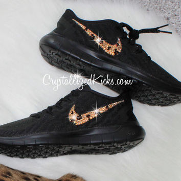 NIKE Free 5.0 2015 running shoes w/Swarovski Crystals - Black/Black cheetah print