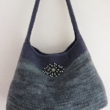 Misty Gray, Felted Purse Pattern, Knit Bag Pattern, Felted Purse, Knitted Purse, Knitting Pattern, Instant Download, PDF