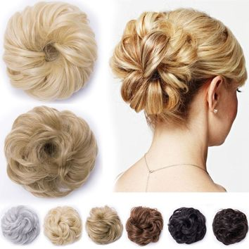 Messy Wavy Pony Tail Hair Bun Clip in Scrunchie Hair Extension Hairpiece as real