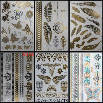 6styles Elephant Temporary Tattoo Body Art Stikers Body Stickers Aramex Wrist Glitter Tattoos Lotus Flower Golden Painting