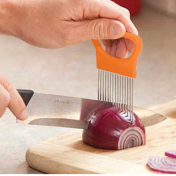 stainless steel vegetable fruit beef tenderizer onion slicer tomato holder gadget cutting aid holder guide slicing cutter fork