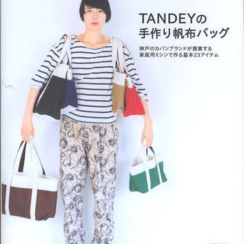 TANDEY Canvas Tote Bag, Shoulder Bag Pattern - Japanese Sewing Book - Simple, Basic Design - Easy Sewing Tutorial, Bags & Pouches