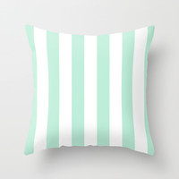 Stripe Vertical Mint Green Throw Pillow by Beautiful Homes