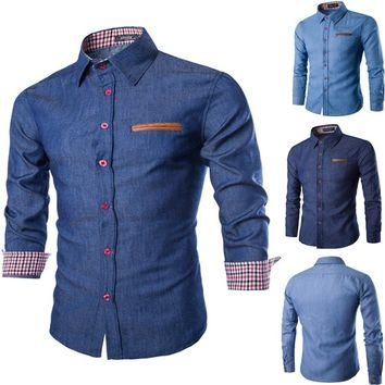 2018 Spring and Autumn Style Men Cotton Denim Shirts Casual Long Sleeve Men's Jeans Blue Shirt