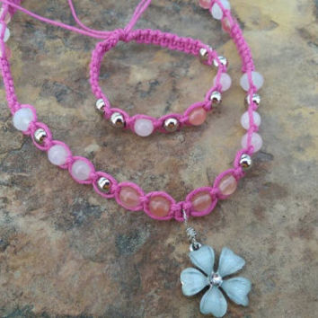 Girls Jewelry Set, Matching Necklace and Bracelet, Hemp Necklace, Handmade, Gift for Daughter, Easter Gift, Flower Necklace, Pink Hemp