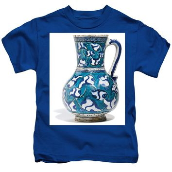 An Ottoman Iznik Style Floral Design Pottery Jug Polychrome, By Adam Asar, No 16v - Kids T-Shirt