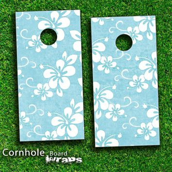 Vintage Hawaiian Floral Skin-set for a pair of Cornhole Boards