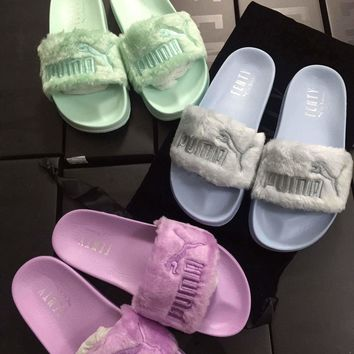 Best Online Sale Rihanna x Puma Leadcat Fenty Sandals Women Purple Mint Green Sky Blue Slipper - 365772 - 03 02 01