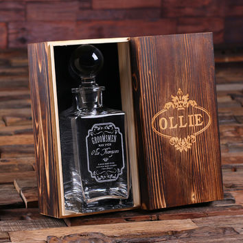 Personalized Whiskey Decanter with Global Bottle Lid and Wood Box – C