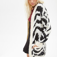 FOREVER 21 Fuzzy Zebra-Striped Cardigan Cream/Black