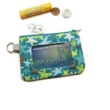 Teal starfish women id wallet, Small zippered wallet keychain. Under 20 women gift.