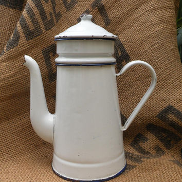 French white vintage enamel coffee pot, French vintage enamelware, French vintage kitchenware, French coffee pot