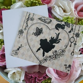 50pcs Mini Card Alice Falling in the Wonderland multi-use as Scrapbooking invitation DIY Decoration party gift message card