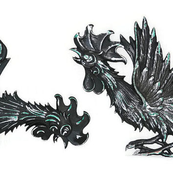 Metal Roosters - Metal Fighting Roosters - Wall Hanging - Garden Art - Black Metal Roosters - Black Metal Fighting Roosters Wall Hanging